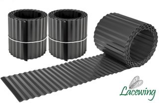 Pack of 2x 5m Galvanised Lawn Edging Rolls - Black - H16.5cm
