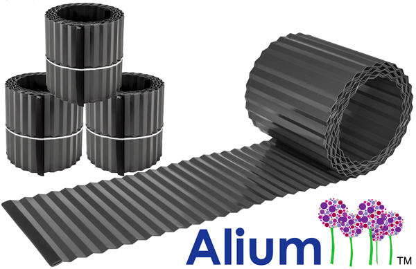 Pack of 3x 5m Galvanised Lawn Edging Rolls - Black - H16.5cm