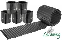 Pack of 5x 5m Galvanised Lawn Edging Rolls - Black - H16.5cm