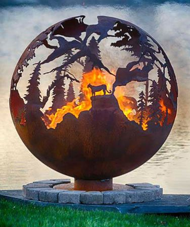 90cm Steel Fire Pit Sphere Mountain View Globe - by CORE Landscape Products
