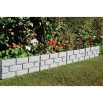 Heritage Grey Brick-Effect Garden Border Lawn Edging - Set of 4