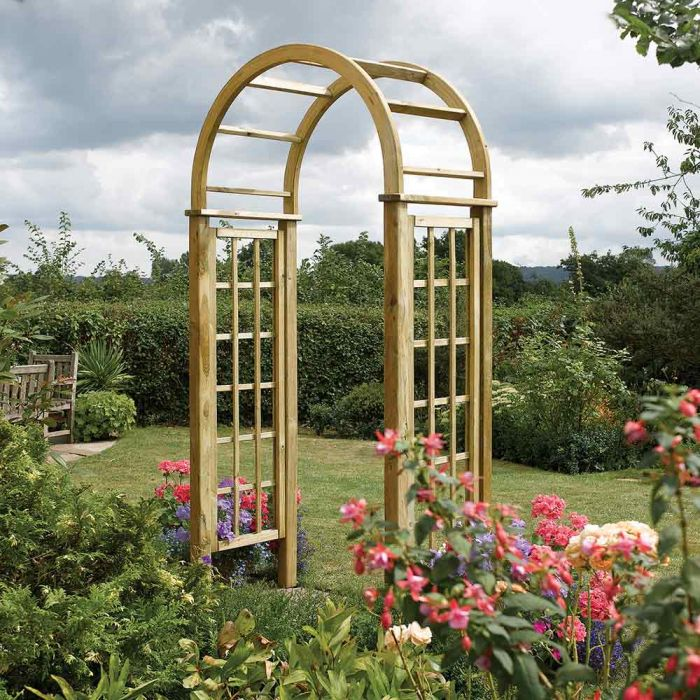 H2.5m (8ft 2in) Wooden Round Top Garden Arch FSC® by Rowlinson®