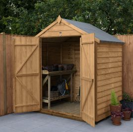 Overlap Dip Treated Apex Shed (No Window, Double Door) | 6x4ft