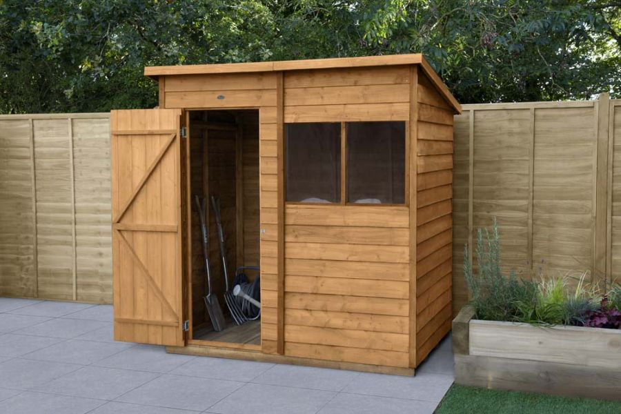 Overlap Dip Treated Pent Shed | 6x4ft