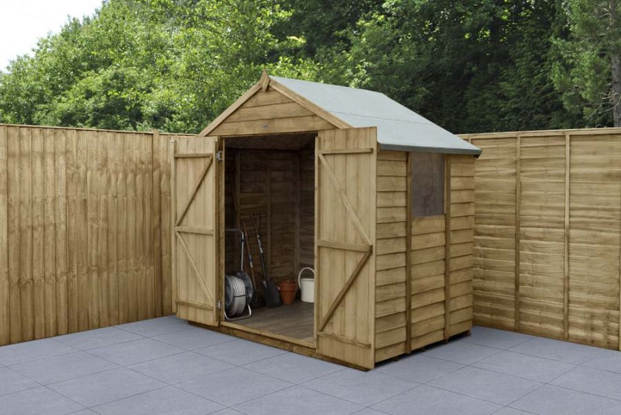 Overlap Pressure Treated Apex Shed (Double Door) | 7x5ft