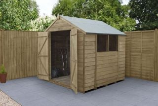 Overlap Pressure Treated Apex Shed (Double Door) | 7x7ft
