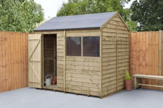 Overlap Pressure Treated Reverse Apex Shed | 8x6ft