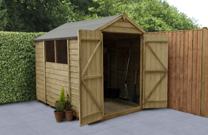 Overlap Pressure Treated Apex Shed (Double Door) | 8x6ft