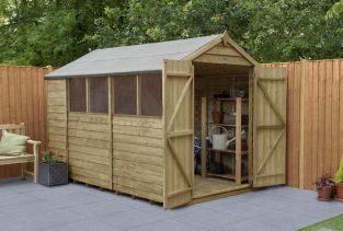 Overlap Pressure Treated Apex Shed (Double Door) | 10x6ft