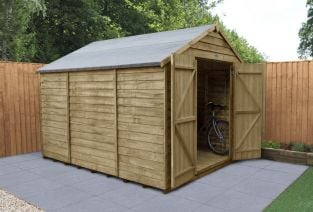 Overlap Pressure Treated Apex Shed (Double Door, No Windows) | 10x8ft