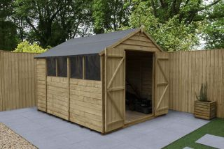 Overlap Pressure Treated Apex Shed (Double Door) | 10x8ft