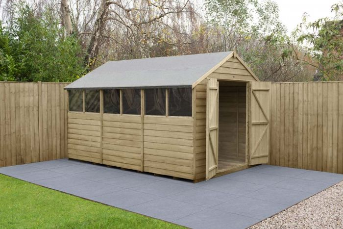 Overlap Pressure Treated Apex Shed (Double Door) | 12x8ft