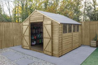 Overlap Pressure Treated Apex Shed (Double Door) | 10x10ft