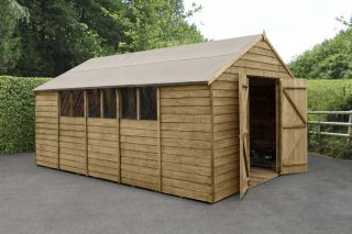 Overlap Pressure Treated Apex Shed (Double Door) | 10x15ft