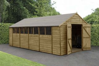 Overlap Pressure Treated Apex Shed (Double Door) | 10x20ft