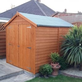 8x6ft | Wooden Overlap Apex Shed | Double Door