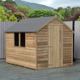 8x6ft | Wooden Overlap Apex Shed with Window | Single Door | Pressure Treated