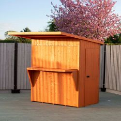 6x4ft | Wooden Garden Bar and Pent Shed | Single Door and Hatch