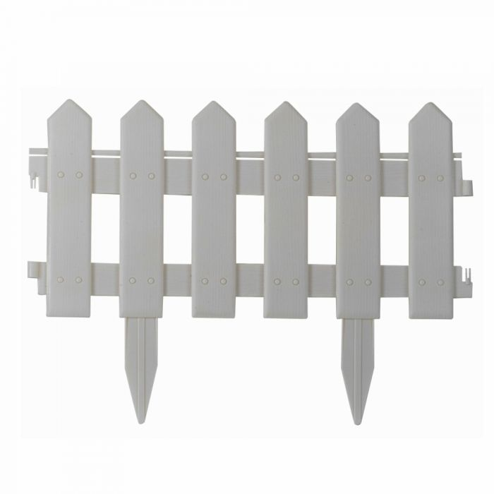 1.6m Picket Fence Lawn Edging in White by Smart Garden