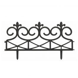 Pack of 4 Ornate Scroll Style Lawn Edging in Black by Smart Garden