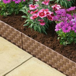 Pack of 4 Faux Rattan Lawn Edging in Brown by Smart Garden