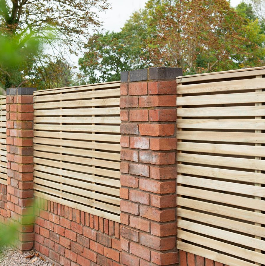 Set of 3 | 6ft x 4ft Double Slatted Wooden Fence Panel | Pressure Treated