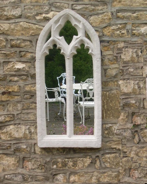 1ft 2in x 2ft 8in Double Ornate Gothic Window Outdoor Glass Mirror