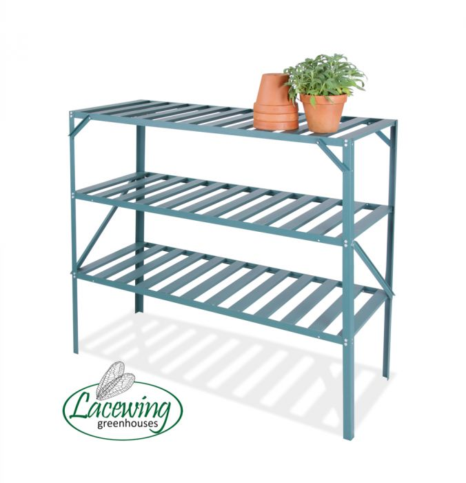 "4' 1"" Lacewing™ Traditional 3 Tier Greenhouse Staging - Green"