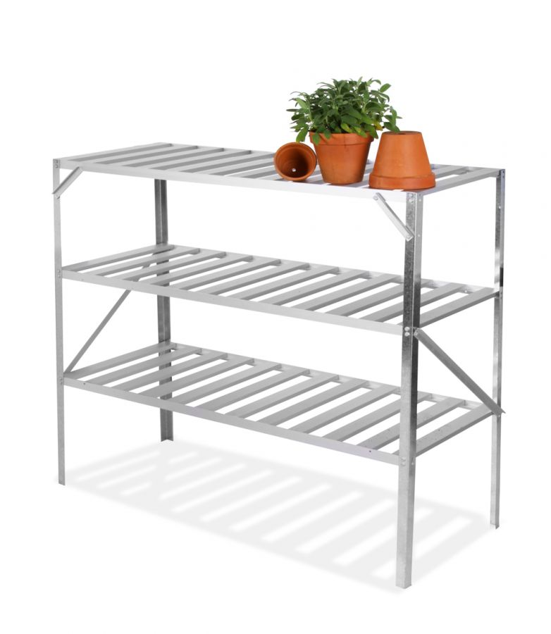 "4' 1"" Lacewing™ Traditional 3 Tier Greenhouse Staging - Silver"
