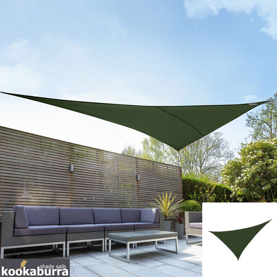 Kookaburra® 6m Right Angle Triangle Green Breathable Party Shade Sail (Knitted 185gsm)