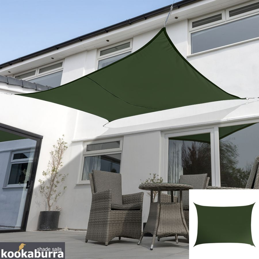 Kookaburra® 5mx4m Rectangle Green Breathable Party Shade Sail (Knitted 185gsm)