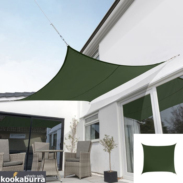 Kookaburra® 2m Square Green Breathable Party Shade Sail (Knitted 185gsm)