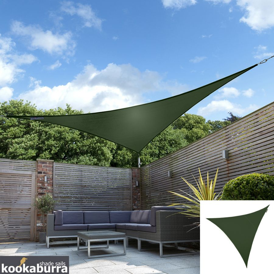 Kookaburra® 2m Triangle Green Breathable Party Shade Sail (Knitted 185gsm)