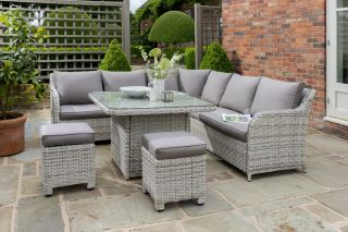 Blakeney 9 Seater Rattan Comfort Corner Lounge Set in Grey