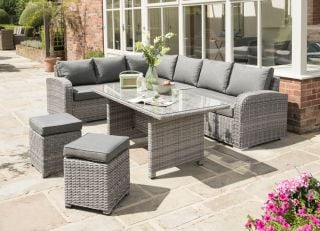 Longbeach 9 Seat Corner Set in Grey Rattan in White