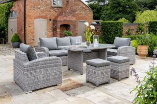 Longbeach 7 Seat Lounge Set in Grey Rattan in White