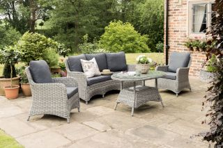 Lynford 5 Seater Rattan Curved Lounge Set in Grey