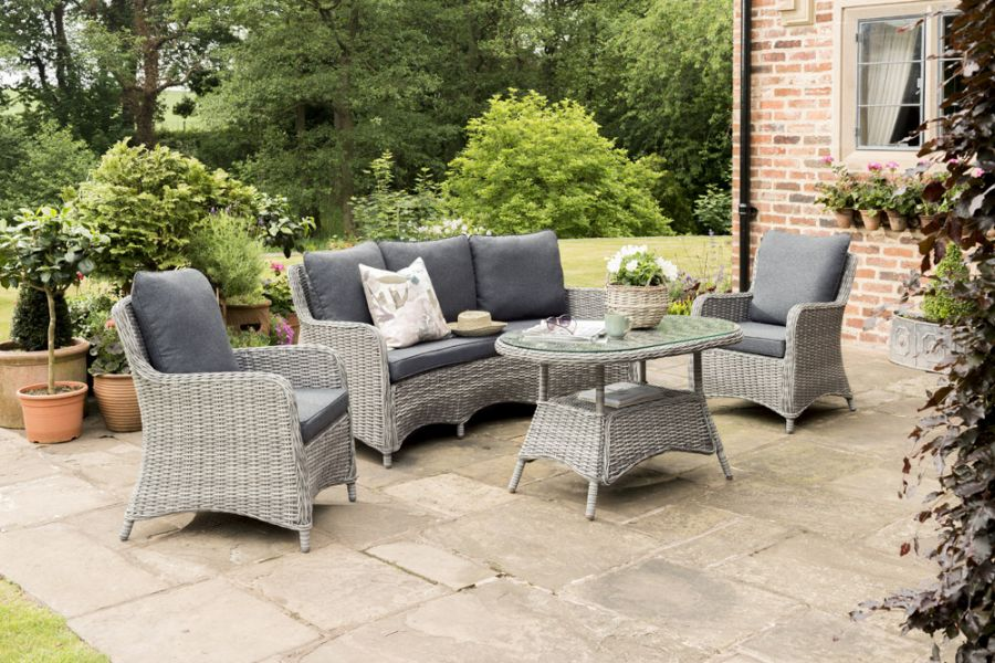 Norfolk Leisure Lynford 5 Seater Rattan Curved Lounge Set in Grey