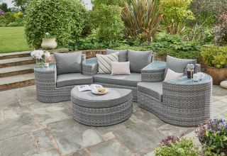 Miami 4 Seater Rattan Daybed in Grey