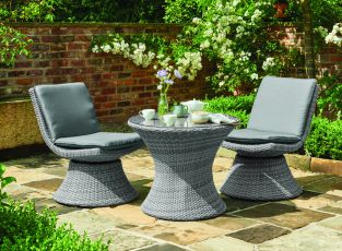 Miramar Rattan 2 Swivel Seat and Table Set in Grey