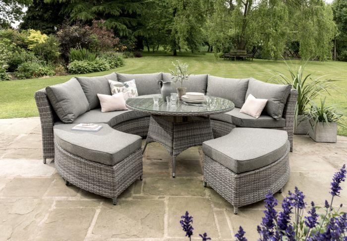 Norfolk Leisure Santorini 8 Seater Curved Rattan Lounge Set in Camel