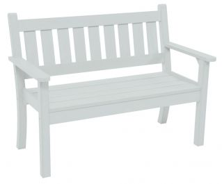 Stay A While 2 Seat Resin Bench in White