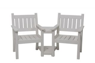 Close To Me Tete A Tete Style Resin Bench in White