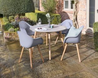 Zari 4 Seat Round Dining Set in Grey/Blue