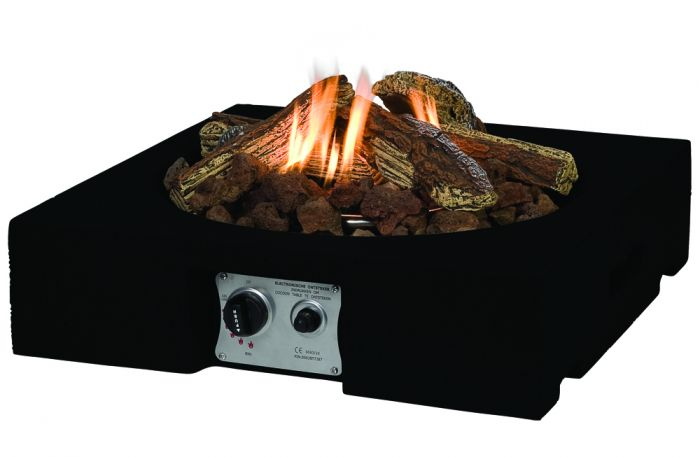 Norfolk Leisure 61cm Table Top Square Fire Pit in Black
