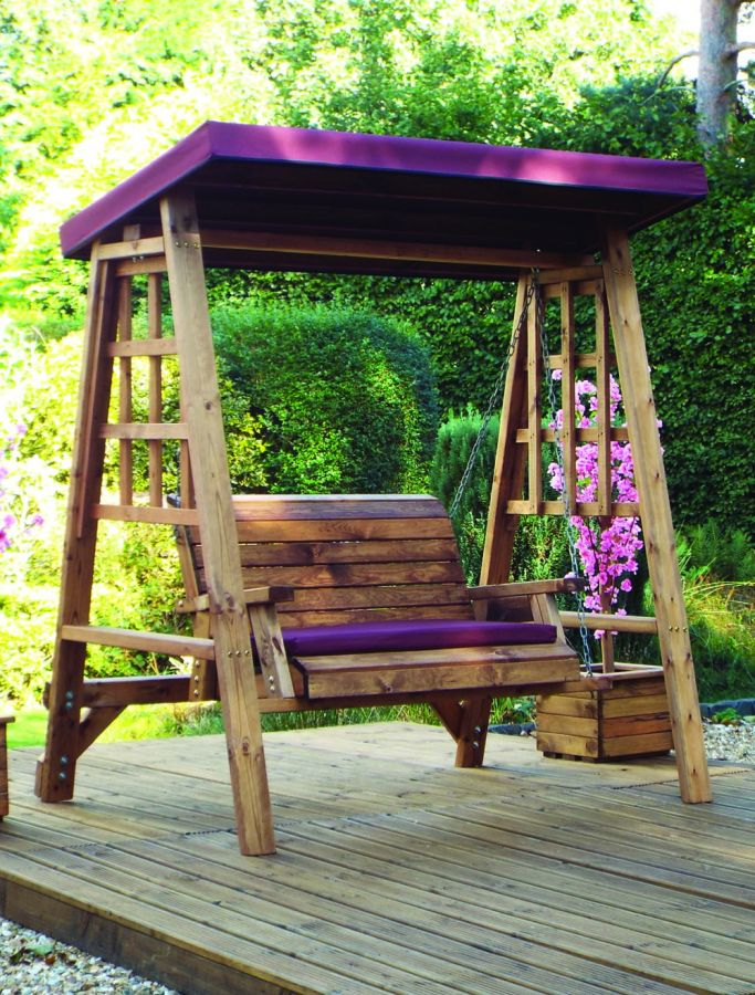 Charles Taylor Dorset Two Seat Swing with Burgundy Roof Cover - FSC Redwood
