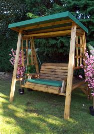 Charles Taylor Dorset Two Seat Swing with Green Roof Cover - FSC Redwood