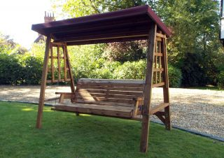 Charles Taylor Dorset Three Seat Swing with Burgundy Roof Cover - FSC Redwood
