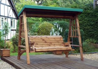 Charles Taylor Dorset Three Seat Swing with Green Roof Cover - FSC Redwood