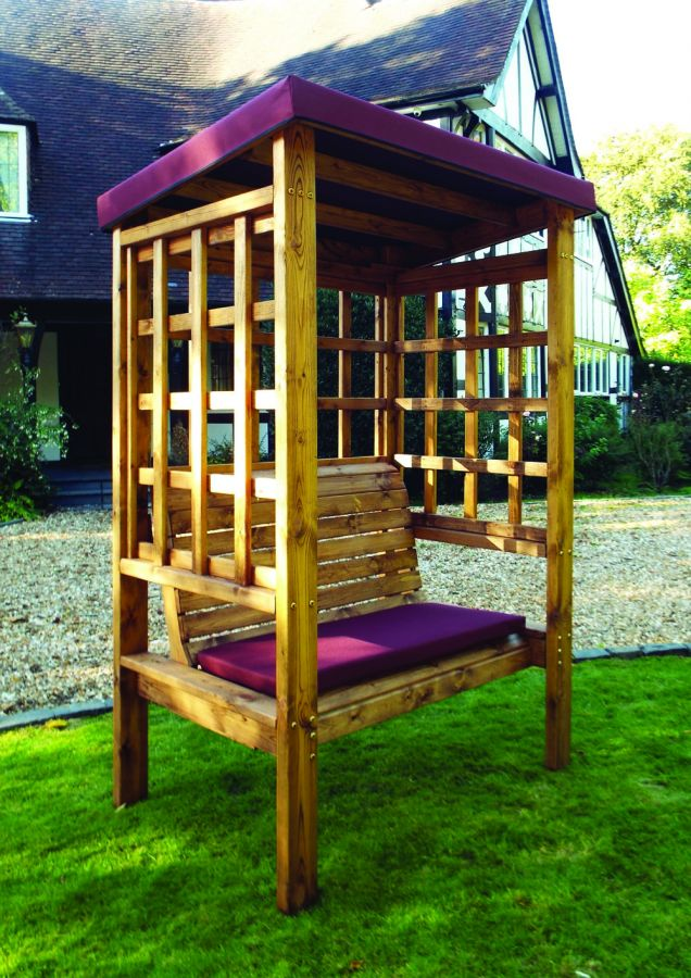 Charles Taylor Bramham Two Seat Arbour with Burgundy Roof Cover - FSC Redwood